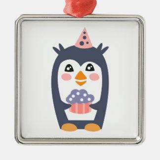 Ornement Carré Argenté Le pingouin avec la partie attribue génial stylisé