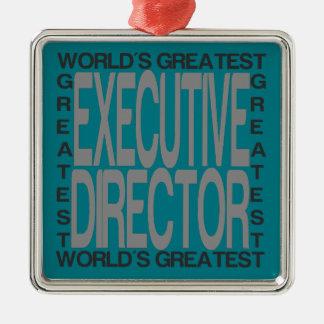 Ornement Carré Argenté Le plus grand directeur exécutif des mondes