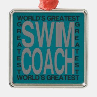 Ornement Carré Argenté Le plus grand entraîneur de bain des mondes