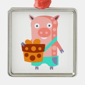 Ornement Carré Argenté Le porc avec la partie attribue génial stylisé