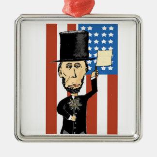 Ornement Carré Argenté Le Président Lincoln Premium Square Ornament