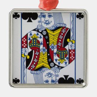 Ornement Carré Argenté Le Roi Of Clovers (clubs)