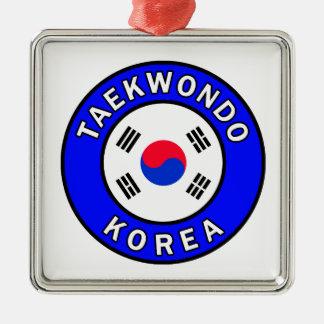 Ornement Carré Argenté Le Taekwondo