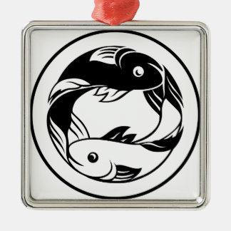 Ornement Carré Argenté Le zodiaque signe l'icône de poissons de Poissons