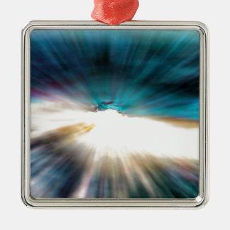 Ornement Carré Argenté L'eau abstraite - vitesse de la lumière