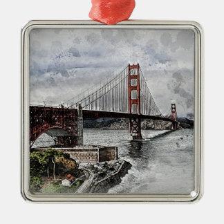 Ornement Carré Argenté L'eau de golden gate bridge de Golden Gate de San