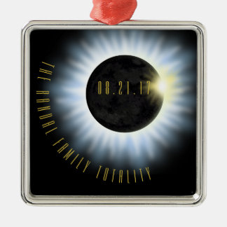 Ornement Carré Argenté L'éclipse de totalité de famille ajoutent le nom