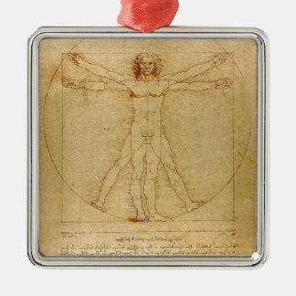 Ornement Carré Argenté Leonardo da Vinci - peinture d'homme de Vitruvian