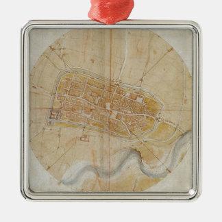 Ornement Carré Argenté Leonardo da Vinci - plan de la peinture d'Imola