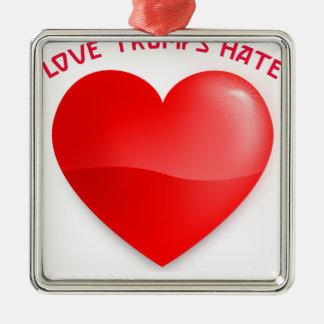 Ornement Carré Argenté les atouts d'amour détestent, T-shirt entendu
