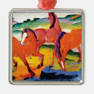 Ornement Carré Argenté Les chevaux rouges par Franz Marc