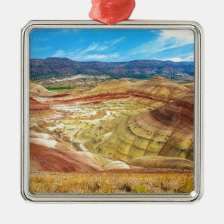 Ornement Carré Argenté Les collines peintes colorées en Orégon oriental