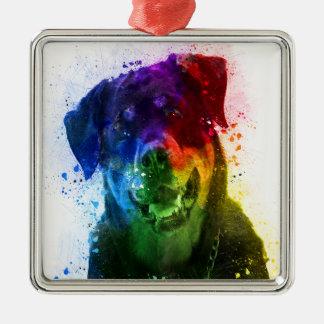 Ornement Carré Argenté Les couleurs de l'amour sont un rottweiler
