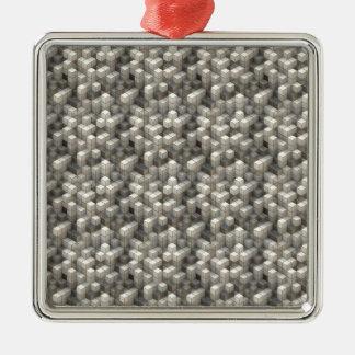 Ornement Carré Argenté Les cubes en blanc