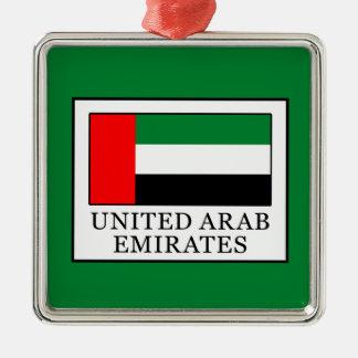 Ornement Carré Argenté Les Emirats Arabes Unis