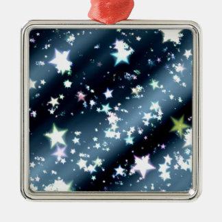 Ornement Carré Argenté les étoiles soustraient l'arrière - plan de noir