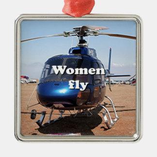 Ornement Carré Argenté Les femmes volent : hélicoptère bleu