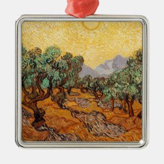 Ornement Carré Argenté Les oliviers de Vincent Van Gogh (Olives trees)