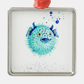 Ornement Carré Argenté Les Pufferfish de Neptune