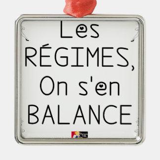 Ornement Carré Argenté Les RÉGIMES on s'en BALANCE - Jeux de Mots