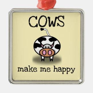 Ornement Carré Argenté Les vaches me rendent heureux