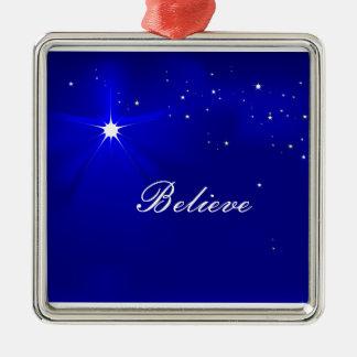 Ornement Carré Argenté L'étoile du nord croient l'ornement de Noël