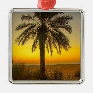 Ornement Carré Argenté Lever de soleil de palmier