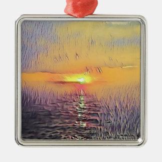 Ornement Carré Argenté Lever de soleil peint assez artistique de paysage