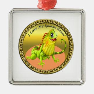 Ornement Carré Argenté Lézard heureux d'iguane de nature de vert adorable