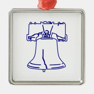 Ornement Carré Argenté Liberty Bell bleu