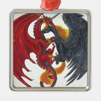 Ornement Carré Argenté Licorne noire du feu et dragon rouge