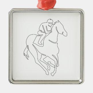 Ornement Carré Argenté Ligne continue de course de chevaux de jockey