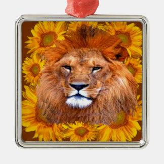 Ornement Carré Argenté lion africain fauve et cadeaux jaunes de