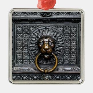 Ornement Carré Argenté Lion de heurtoir - noir/or