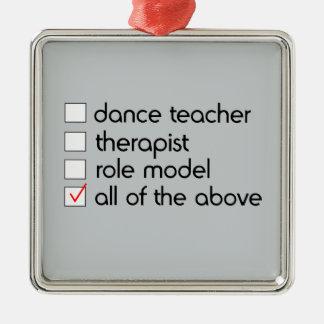 Ornement Carré Argenté Liste de contrôle de professeur de danse