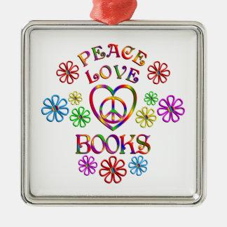 Ornement Carré Argenté Livres d'amour de paix