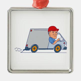 Ornement Carré Argenté Livreur conduisant Truck Van Cartoon