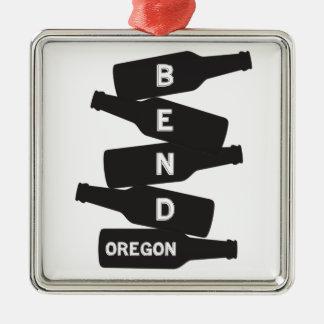 Ornement Carré Argenté Logo de pile de bouteille à bière de l'Orégon de