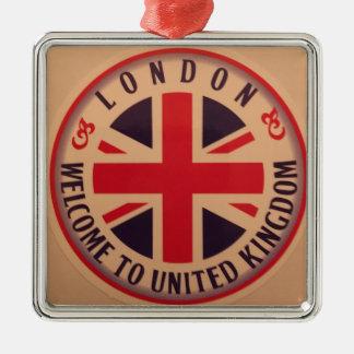 Ornement Carré Argenté Londres - Union Jack - accueil vers le Royaume-Uni