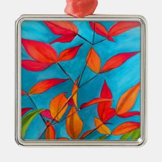 Ornement Carré Argenté L'orange laisse à automne l'art pour aquarelle