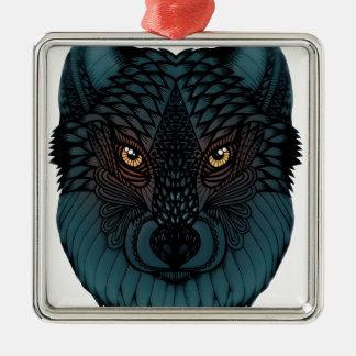 Ornement Carré Argenté Loup avec les yeux rougeoyants