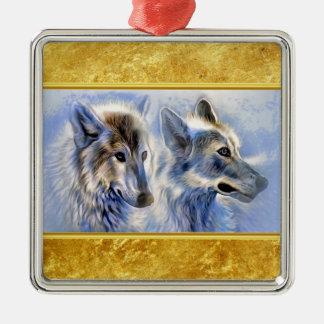 Ornement Carré Argenté Loups bleus et blancs de glace avec la texture de