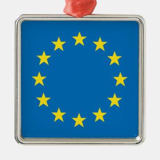 Ornement Carré Argenté L'UE marquent le decoraction de Noël (d'Union