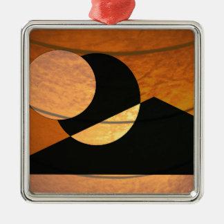 Ornement Carré Argenté Lueur de planètes, noir et cuivre, conception