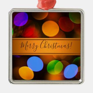 Ornement Carré Argenté Lumières de Noël multicolores. Ajoutez le texte ou