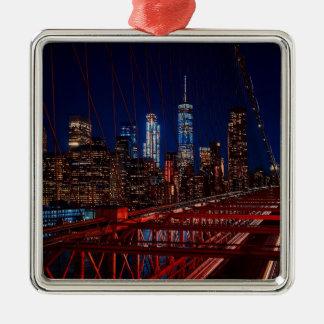 Ornement Carré Argenté Lumières de nuit de New York City de pont de