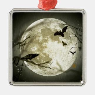 Ornement Carré Argenté lune de Halloween