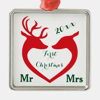Ornement Carré Argenté M. et Mme mariés premier par Noël Heart Deer