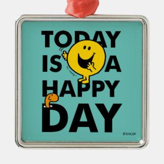 Ornement Carré Argenté M. Happy | est aujourd'hui un jour heureux