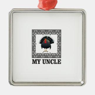 Ornement Carré Argenté ma boîte à dinde d'oncle